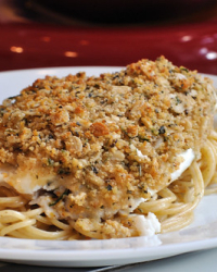 Baked Oatmeal-Crusted Tilapia with Lemon Mayonnaise