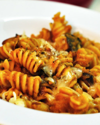 Pumpkin Baked Pasta with the Last of Our Wonderful Garden Chard