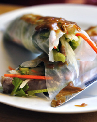 Pork Spring Rolls with Peanut Butter Dipping Sauce