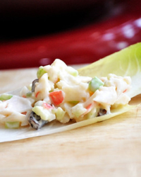 Cleaning Up our Snack Act: Light and Creamy Crab Salad on Endive