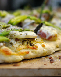St. Patrick's Day Pizza: Asparagus and Potato Pizza with Pesto and Carmelized Onions