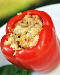 At Home Take-Out: Healthified Szechuan Pork Stuffed Peppers