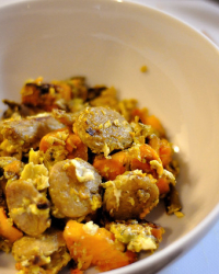 Sweet Potato Hash with Chicken Sausage and Eggs