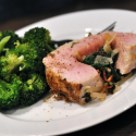 Spinach and Bacon Stuffed Pork Tenderloin