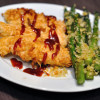 Paleo Baked Chicken Fingers & Panko-crusted Asparagus