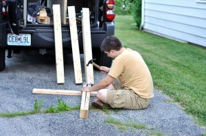 Our Finished DIY Sawhorse Table