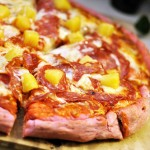 Happy Valentine's Day! Pig and Pineapple Pizza on Beet Crust