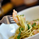 Shrimp and Leek Linguine in White Wine Sauce