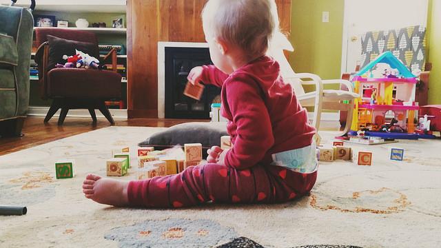 Kaitlan stacking blocks - 17 months - kohler created